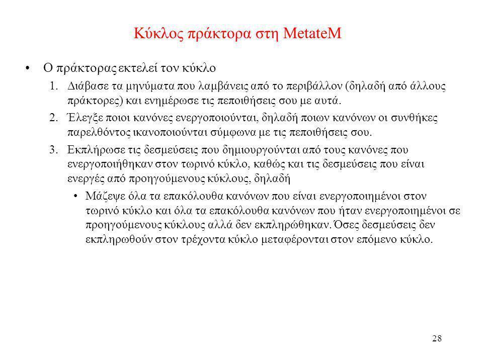 29 Παράδειγμα λειτουργίας πράκτορα στη MetateM