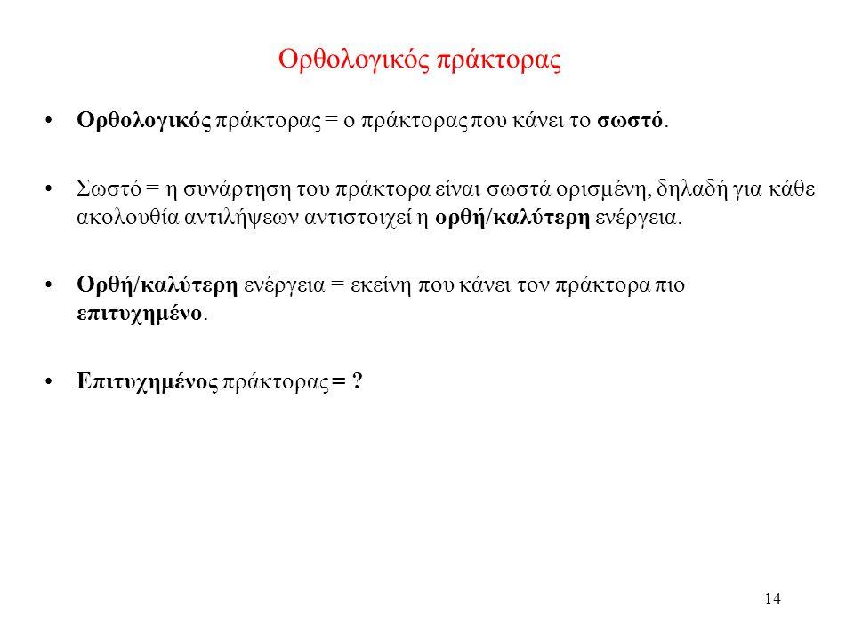 14 Ορθολογικός πράκτορας Ορθολογικός πράκτορας = ο πράκτορας που κάνει το σωστό. Σωστό = η συνάρτηση του πράκτορα είναι σωστά ορισμένη, δηλαδή για κάθ