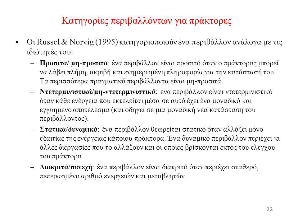 22 Κατηγορίες περιβαλλόντων για πράκτορες Οι Russel & Norvig (1995) κατηγοριοποιούν ένα περιβάλλον ανάλογα με τις ιδιότητές του: –Προσιτά/ μη-προσιτά: