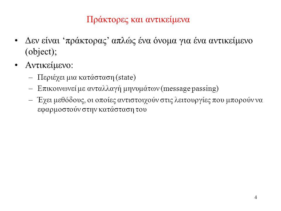 4 Πράκτορες και αντικείμενα Δεν είναι 'πράκτορας' απλώς ένα όνομα για ένα αντικείμενο (object); Αντικείμενο: –Περιέχει μια κατάσταση (state) –Επικοινω