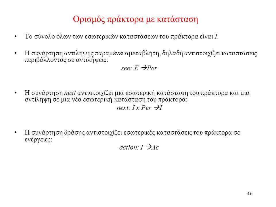 46 Ορισμός πράκτορα με κατάσταση Το σύνολο όλων των εσωτερικών καταστάσεων του πράκτορα είναι Ι. Η συνάρτηση αντίληψης παραμένει αμετάβλητη, δηλαδή αν