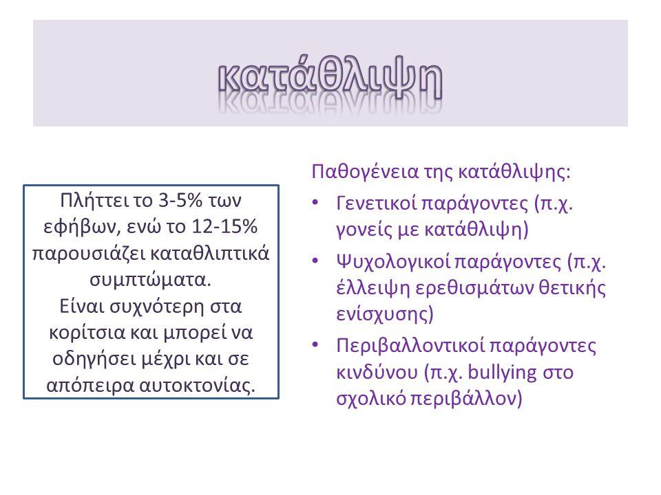 Παθογένεια της κατάθλιψης: Γενετικοί παράγοντες (π.χ. γονείς με κατάθλιψη) Ψυχολογικοί παράγοντες (π.χ. έλλειψη ερεθισμάτων θετικής ενίσχυσης) Περιβαλ