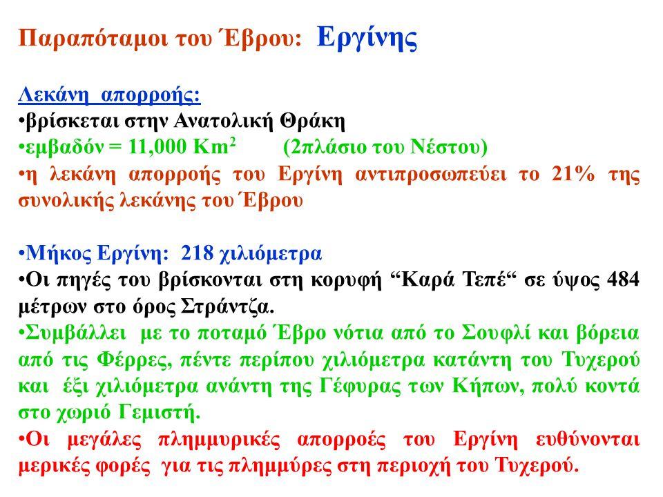 Παραπόταμοι του Έβρου: Εργίνης Λεκάνη απορροής: βρίσκεται στην Ανατολική Θράκη εμβαδόν = 11,000 Km 2 (2πλάσιο του Νέστου) η λεκάνη απορροής του Εργίνη