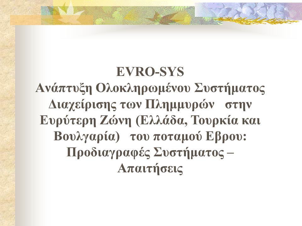 EVRO-SYS Aνάπτυξη Ολοκληρωμένου Συστήματος Διαχείρισης των Πλημμυρών στην Ευρύτερη Ζώνη (Ελλάδα, Τουρκία και Βουλγαρία) του ποταμού Εβρου: Προδιαγραφέ
