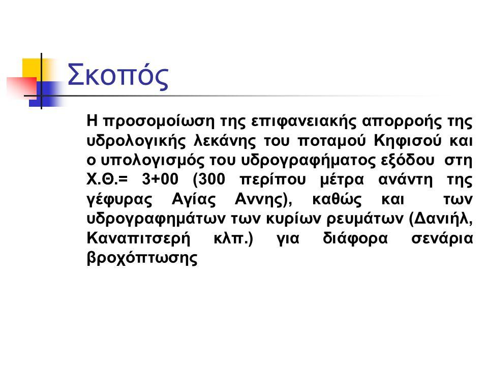 Σκοπός Η προσομοίωση της επιφανειακής απορροής της υδρολογικής λεκάνης του ποταμού Κηφισού και ο υπολογισμός του υδρογραφήματος εξόδου στη Χ.Θ.= 3+00
