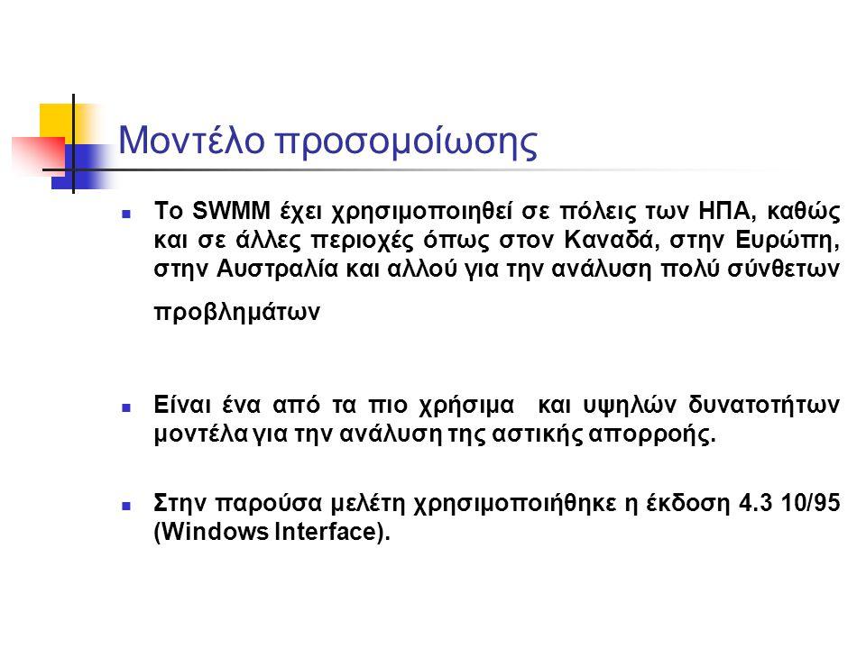 Μοντέλο προσομοίωσης Το SWMM έχει χρησιμοποιηθεί σε πόλεις των ΗΠΑ, καθώς και σε άλλες περιοχές όπως στον Καναδά, στην Ευρώπη, στην Αυστραλία και αλλο