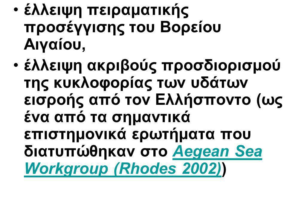 έλλειψη πειραματικής προσέγγισης του Βορείου Αιγαίου, έλλειψη ακριβούς προσδιορισμού της κυκλοφορίας των υδάτων εισροής από τον Ελλήσποντο (ως ένα από τα σημαντικά επιστημονικά ερωτήματα που διατυπώθηκαν στο Aegean Sea Workgroup (Rhodes 2002))Aegean Sea Workgroup (Rhodes 2002)
