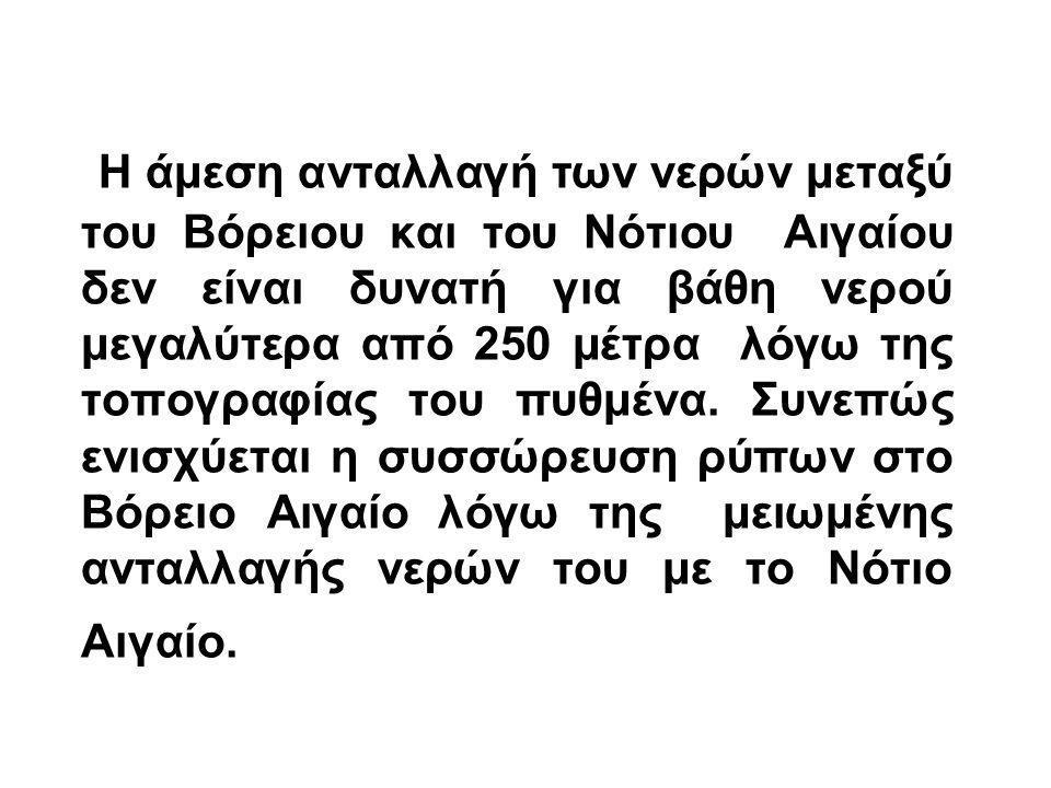 Η άμεση ανταλλαγή των νερών μεταξύ του Βόρειου και του Νότιου Αιγαίου δεν είναι δυνατή για βάθη νερού μεγαλύτερα από 250 μέτρα λόγω της τοπογραφίας του πυθμένα.