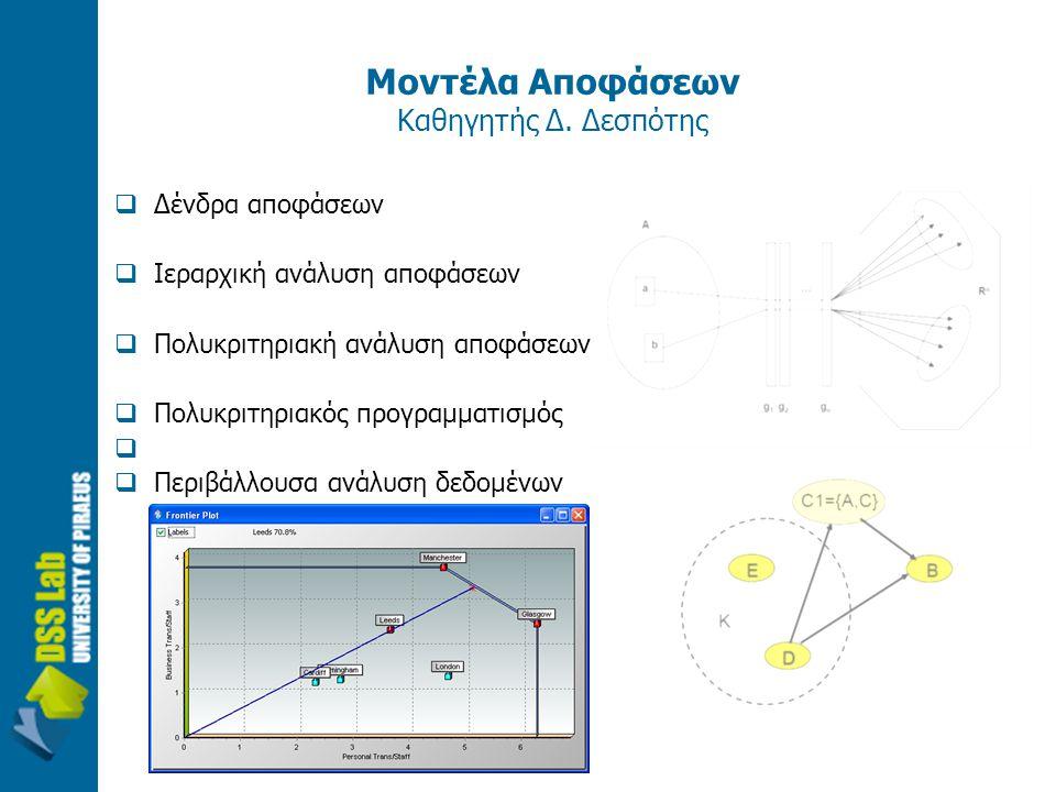 Μοντέλα Αποφάσεων Καθηγητής Δ. Δεσπότης  Δένδρα αποφάσεων  Ιεραρχική ανάλυση αποφάσεων  Πολυκριτηριακή ανάλυση αποφάσεων  Πολυκριτηριακός προγραμμ