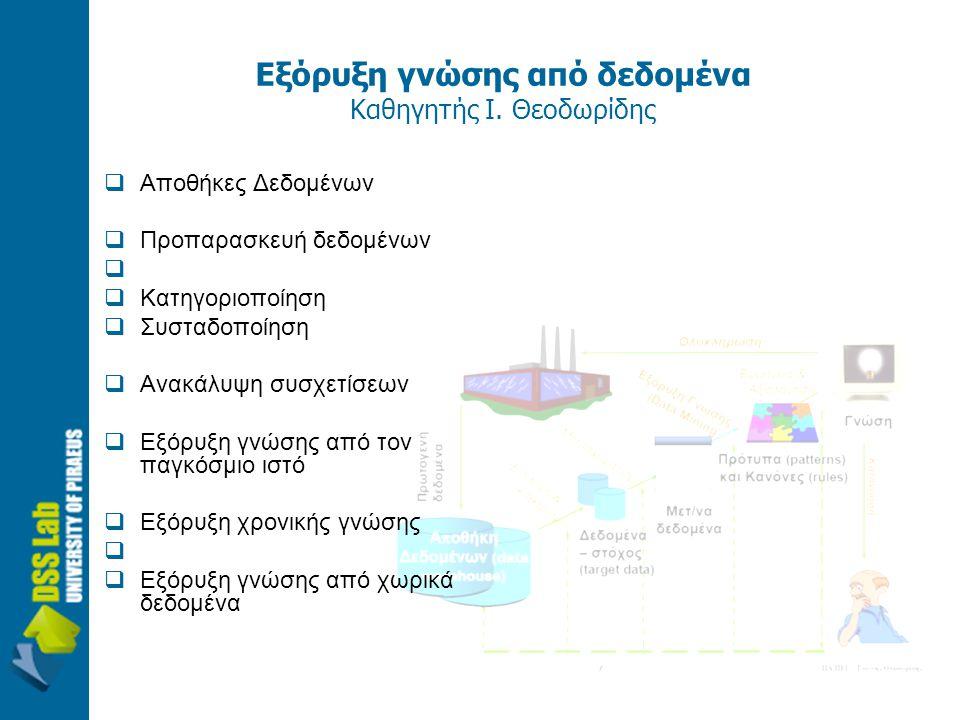 Εξόρυξη γνώσης από δεδομένα Καθηγητής Ι. Θεοδωρίδης  Αποθήκες Δεδομένων  Προπαρασκευή δεδομένων   Κατηγοριοποίηση  Συσταδοποίηση  Ανακάλυψη συσχ