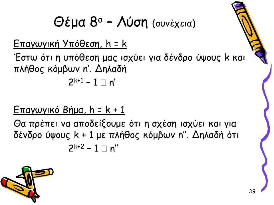 Επαγωγική Υπόθεση, h = k Έστω ότι η υπόθεση μας ισχύει για δένδρο ύψους k και πλήθος κόμβων n'. Δηλαδή 2 k+1 – 1  n' Επαγωγικό Βήμα, h = k + 1 Θα πρέ