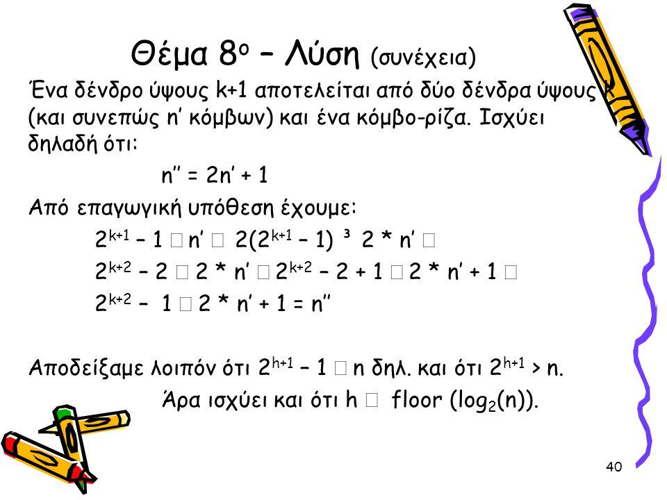 Ένα δένδρο ύψους k+1 αποτελείται από δύο δένδρα ύψους k (και συνεπώς n' κόμβων) και ένα κόμβο-ρίζα. Ισχύει δηλαδή ότι: n'' = 2n' + 1 Από επαγωγική υπό