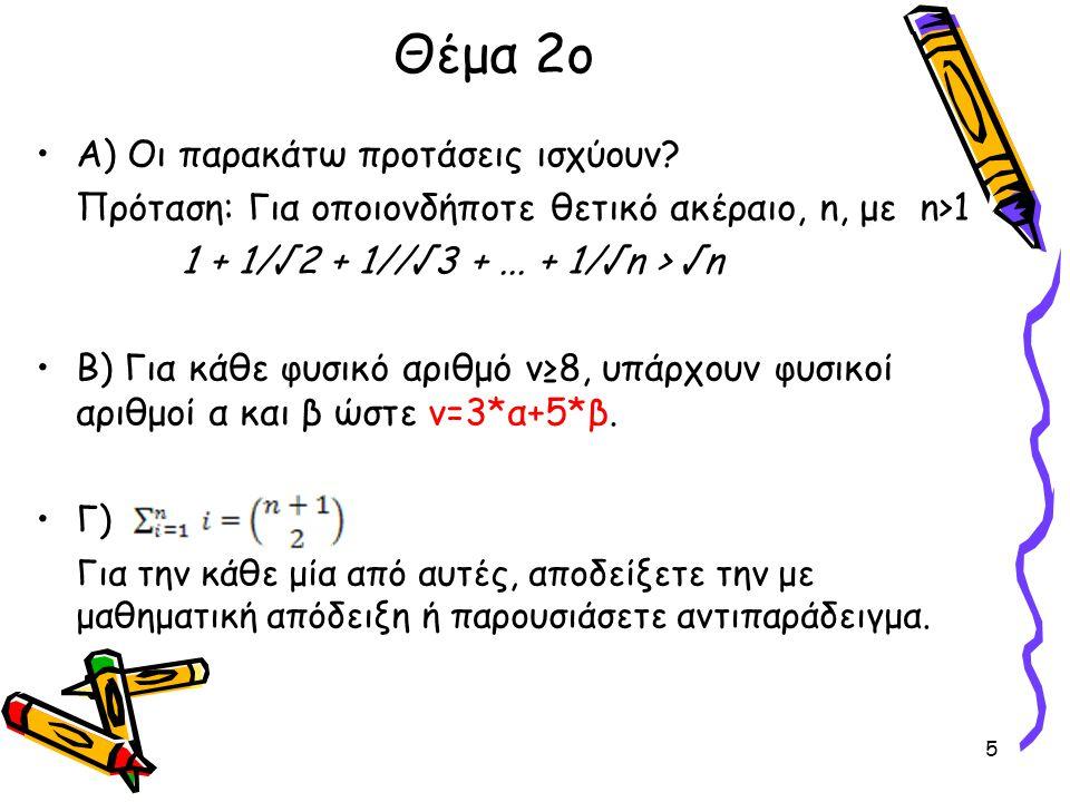 Θέμα 2ο Α) Οι παρακάτω προτάσεις ισχύουν? Πρόταση: Για οποιονδήποτε θετικό ακέραιο, n, με n>1 1 + 1/√2 + 1//√3 +... + 1/√n > √n Β) Για κάθε φυσικό αρι