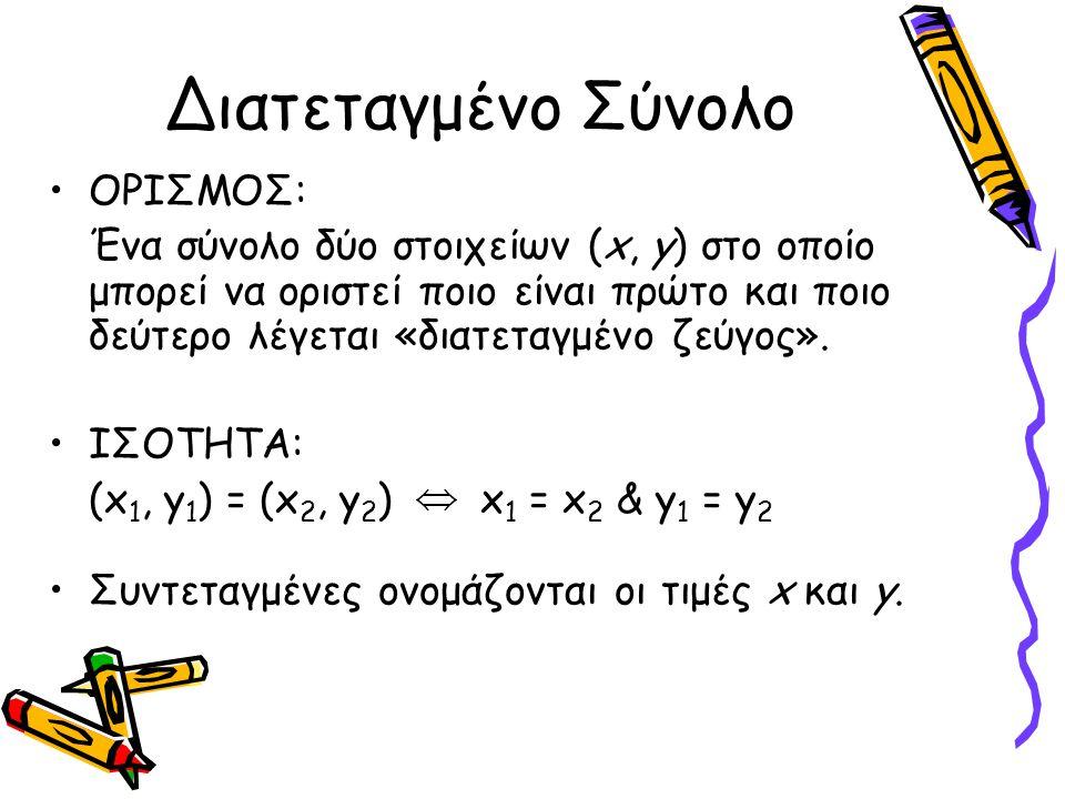 Διατεταγμένο Σύνολο ΟΡΙΣΜΟΣ: Ένα σύνολο δύο στοιχείων (x, y) στο οποίο μπορεί να οριστεί ποιο είναι πρώτο και ποιο δεύτερο λέγεται «διατεταγμένο ζεύγο
