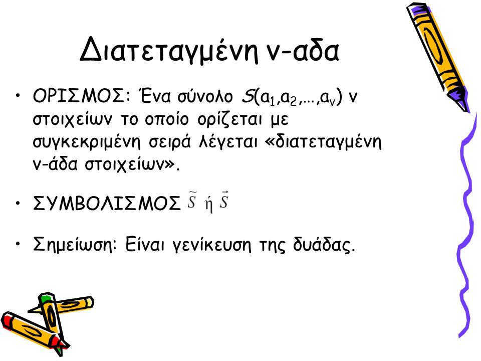 Διατεταγμένη ν-αδα ΟΡΙΣΜΟΣ: Ένα σύνολο S(a 1,a 2,…,a v ) ν στοιχείων το οποίο ορίζεται με συγκεκριμένη σειρά λέγεται «διατεταγμένη ν-άδα στοιχείων». Σ
