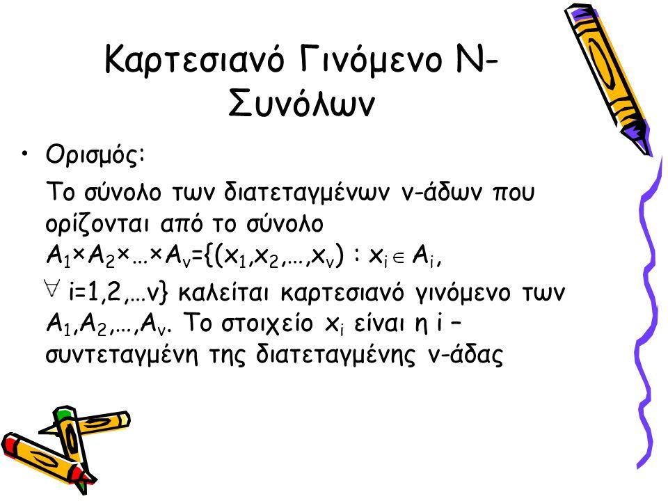Καρτεσιανό Γινόμενο Ν- Συνόλων Ορισμός: Το σύνολο των διατεταγμένων ν-άδων που ορίζονται από το σύνολο Α 1 ×Α 2 ×…×Α ν ={(x 1,x 2,…,x v ) : x i  A i,