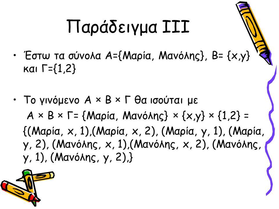 Παράδειγμα III Έστω τα σύνολα Α={Μαρία, Μανόλης}, Β= {x,y} και Γ={1,2} Το γινόμενο Α × B × Γ θα ισούται με Α × B × Γ= {Μαρία, Μανόλης} × {x,y} × {1,2}