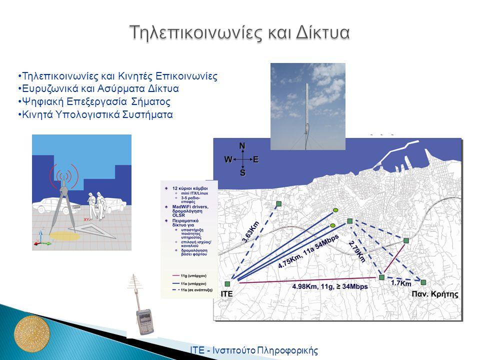 ΙΤΕ - Ινστιτούτο Πληροφορικής Τηλεπικοινωνίες και Κινητές Επικοινωνίες Ευρυζωνικά και Ασύρματα Δίκτυα Ψηφιακή Επεξεργασία Σήματος Κινητά Υπολογιστικά Συστήματα