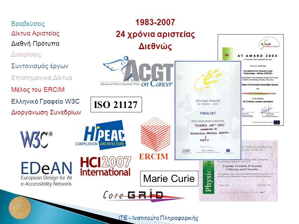 ΙΤΕ - Ινστιτούτο Πληροφορικής ISO 21127 ERCIM Marie Curie Μέλος του ΕRCIM Ελληνικό Γραφείο W3C Βραβεύσεις Διεθνή Πρότυπα Διακρίσεις Δίκτυα Αριστείας Διοργάνωση Συνεδρίων Συντονισμός έργων 1983-2007 24 χρόνια αριστείας Διεθνώς Επιστημονικά Δίκτυα