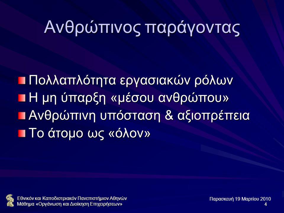 Παρασκευή 19 Μαρτίου 2010 Εθνικόν και Καποδιστριακόν Πανεπιστήμιον Αθηνών Μάθημα «Οργάνωση και Διοίκηση Επιχειρήσεων»4 Ανθρώπινος παράγοντας Πολλαπλότητα εργασιακών ρόλων Η μη ύπαρξη «μέσου ανθρώπου» Ανθρώπινη υπόσταση & αξιοπρέπεια Το άτομο ως «όλον»