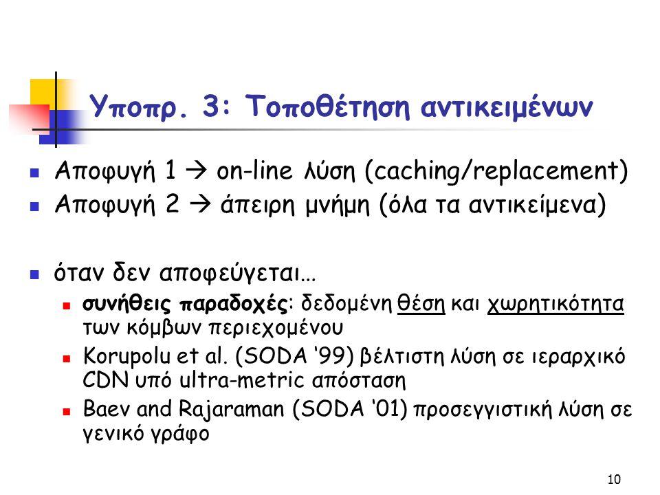 10 Υποπρ. 3: Τοποθέτηση αντικειμένων Αποφυγή 1  on-line λύση (caching/replacement) Αποφυγή 2  άπειρη μνήμη (όλα τα αντικείμενα) όταν δεν αποφεύγεται