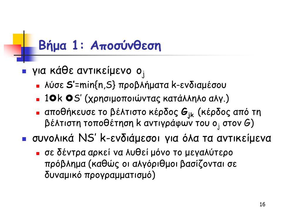 16 Βήμα 1: Αποσύνθεση για κάθε αντικείμενο o j λύσε S'=min{n,S} προβλήματα k-ενδιαμέσου 1  k  S' (χρησιμοποιώντας κατάλληλο αλγ.) αποθήκευσε το βέλτ