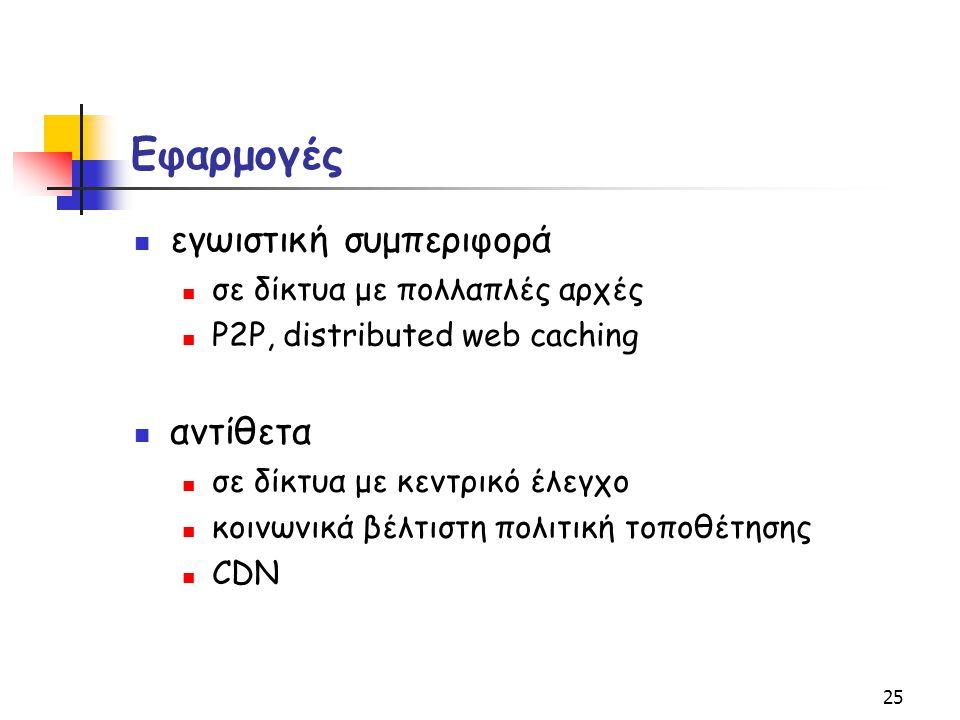 25 Εφαρμογές εγωιστική συμπεριφορά σε δίκτυα με πολλαπλές αρχές P2P, distributed web caching αντίθετα σε δίκτυα με κεντρικό έλεγχο κοινωνικά βέλτιστη