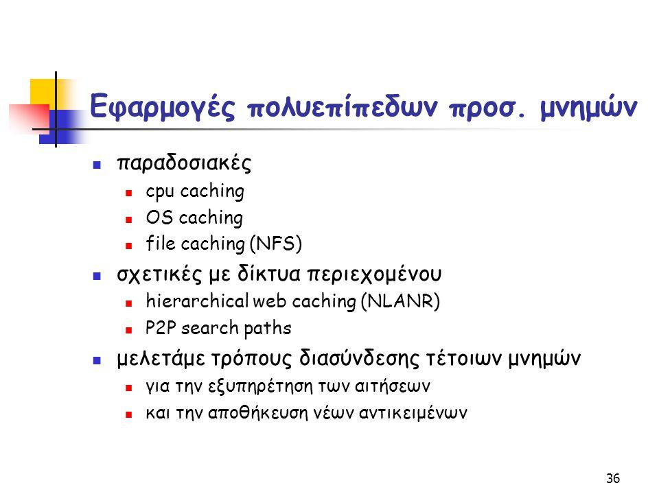 36 Εφαρμογές πολυεπίπεδων προσ. μνημών παραδοσιακές cpu caching OS caching file caching (NFS) σχετικές με δίκτυα περιεχομένου hierarchical web caching