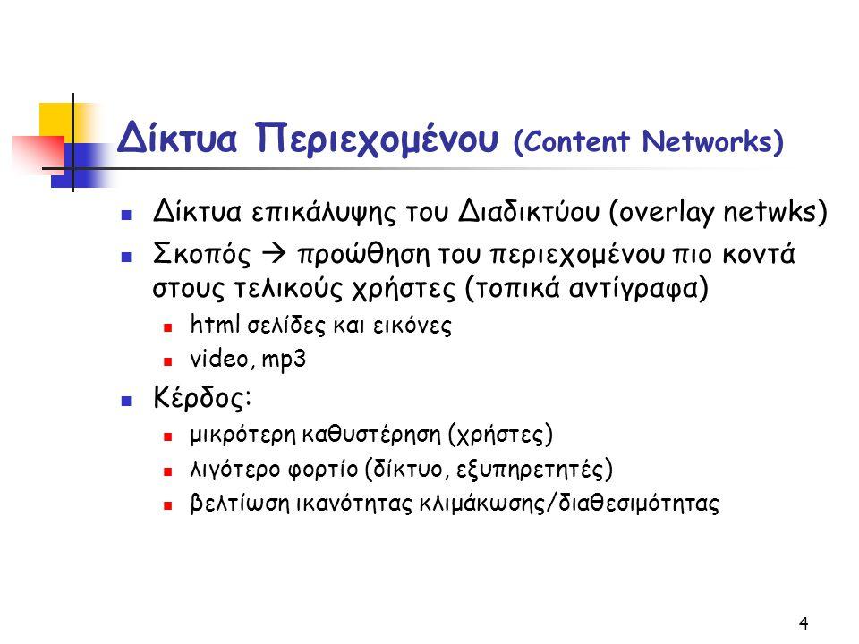4 Δίκτυα Περιεχομένου (Content Networks) Δίκτυα επικάλυψης του Διαδικτύου (overlay netwks) Σκοπός  προώθηση του περιεχομένου πιο κοντά στους τελικούς