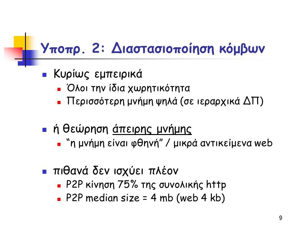 30 Α2ΤΑ Αλγόριθμος 2 βημάτων Τοπικής Αναζήτησης Βήμα 0 (αρχικοποίηση): κάθε κόμβος υπολογίζει την ΑΤ τοποθέτησή του Βήμα 1 (βελτίωση): διάταξη κόμβων v 1, v 2, …, v n (φθίνουσα~id ) o κόμβος v j παρατηρεί τις τοποθετήσεις των υπολοίπων βελτιώνει ανάλογα τη δική του, βάσει του επιπλέον κέρδους g ij = r ij (t s -t l ),αν το o i δεν υπάρχει σε άλλο κόμβο r ij (t r -t l ),αν το o i υπάρχει σε άλλο κόμβο