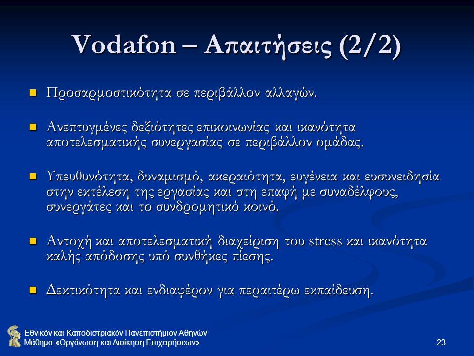 Εθνικόν και Καποδιστριακόν Πανεπιστήμιον Αθηνών Μάθημα «Οργάνωση και Διοίκηση Επιχειρήσεων» 23 Vodafon – Απαιτήσεις (2/2) Προσαρμοστικότητα σε περιβάλ
