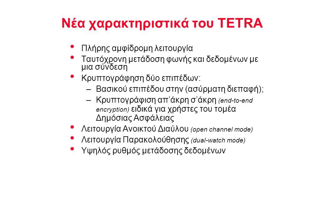 NOKIA TELECOMMUNICATIONS Βασικές Υπηρεσίες TETRA Φωνητικές Υπηρεσίες: Συνήθης κλήση Ομαδική κλήση Ομαδική κλήση με επιβεβαίωση Κλήση τύπου Broadcast Συνήθης ή κρυπτογραφημένη συνδιάλεξη Υπηρεσίες Δεδομένων:Χωρίς προστασία μέχρι 28,8 kBits/s Με προστασία μέχρι 19,2 kBits/s Με μεταγωγή Κυκλώματος ( Circuit Switched ) Με μεταγωγή Πακέτου ( Packet Switched )