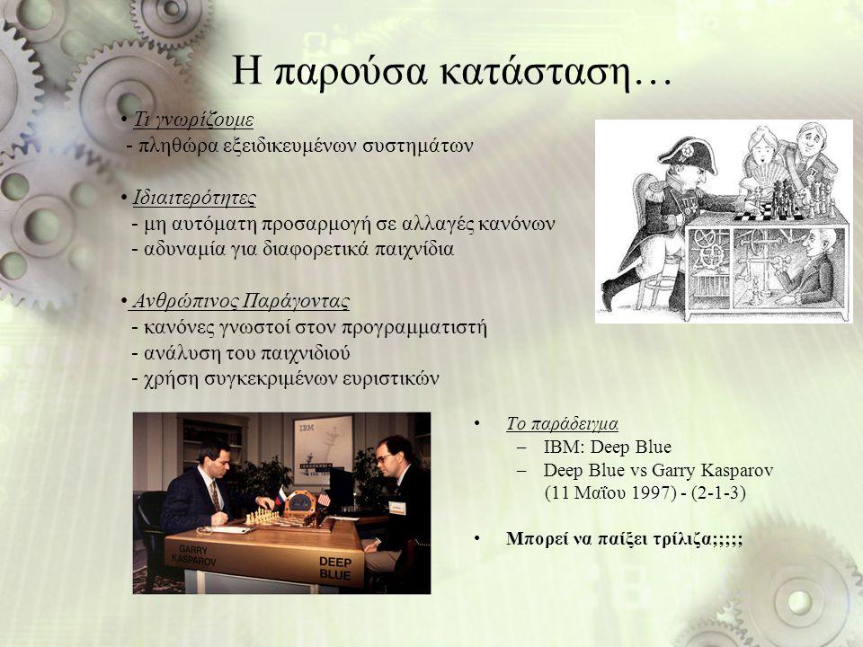 Η παρούσα κατάσταση… Το παράδειγμα –IBM: Deep Blue –Deep Blue vs Garry Kasparov (11 Μαΐου 1997) - (2-1-3) Μπορεί να παίξει τρίλιζα;;;;; Τι γνωρίζουμε