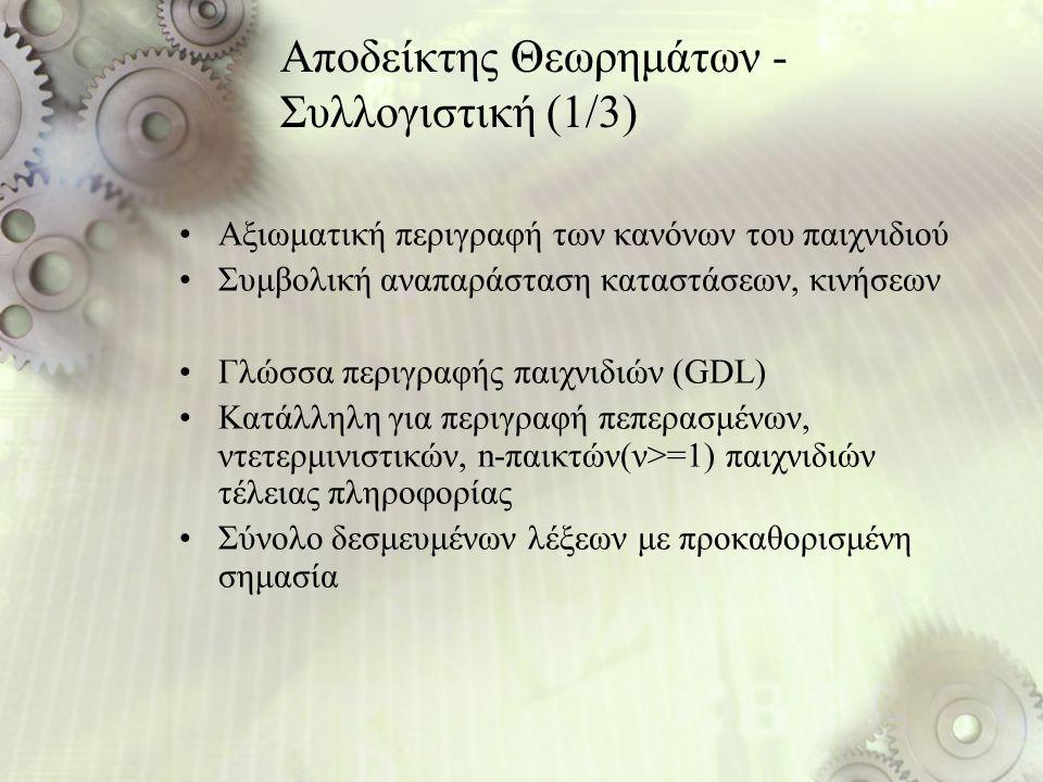 Αποδείκτης Θεωρημάτων - Συλλογιστική (1/3) Αξιωματική περιγραφή των κανόνων του παιχνιδιού Συμβολική αναπαράσταση καταστάσεων, κινήσεων Γλώσσα περιγρα