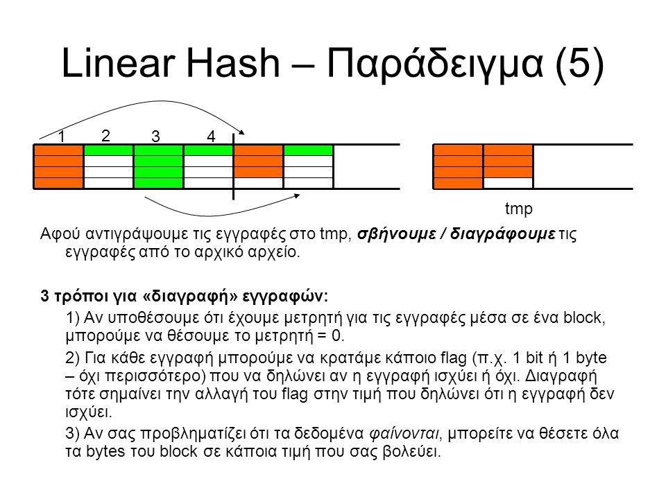 Linear Hash – Παράδειγμα (5) 1 2 34 tmp Αφού αντιγράψουμε τις εγγραφές στο tmp, σβήνουμε / διαγράφουμε τις εγγραφές από το αρχικό αρχείο.