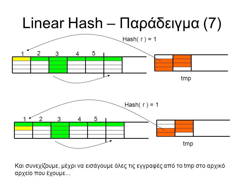 5 Linear Hash – Παράδειγμα (7) tmp 1 2 34 Hash( r ) = 1 5 tmp 1 2 34 Hash( r ) = 1 Και συνεχίζουμε, μέχρι να εισάγουμε όλες τις εγγραφές από το tmp στο αρχικό αρχείο που έχουμε...