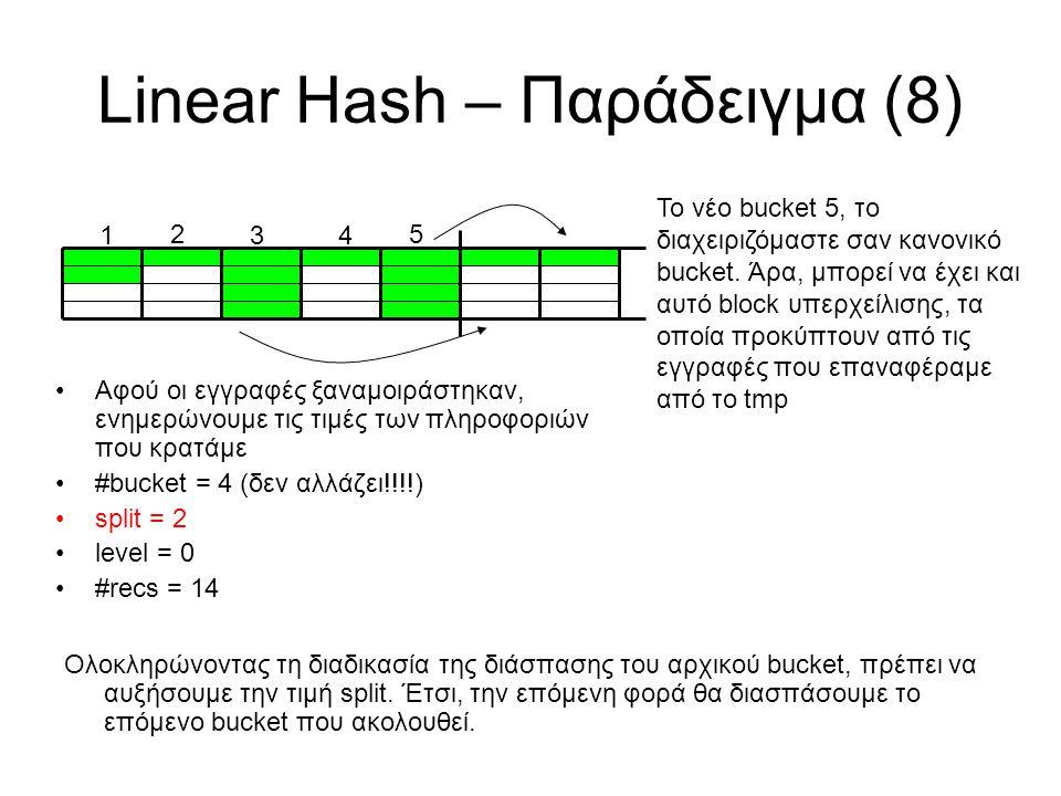 Linear Hash – Παράδειγμα (8) 5 1 2 34 To νέο bucket 5, το διαχειριζόμαστε σαν κανονικό bucket. Άρα, μπορεί να έχει και αυτό block υπερχείλισης, τα οπο