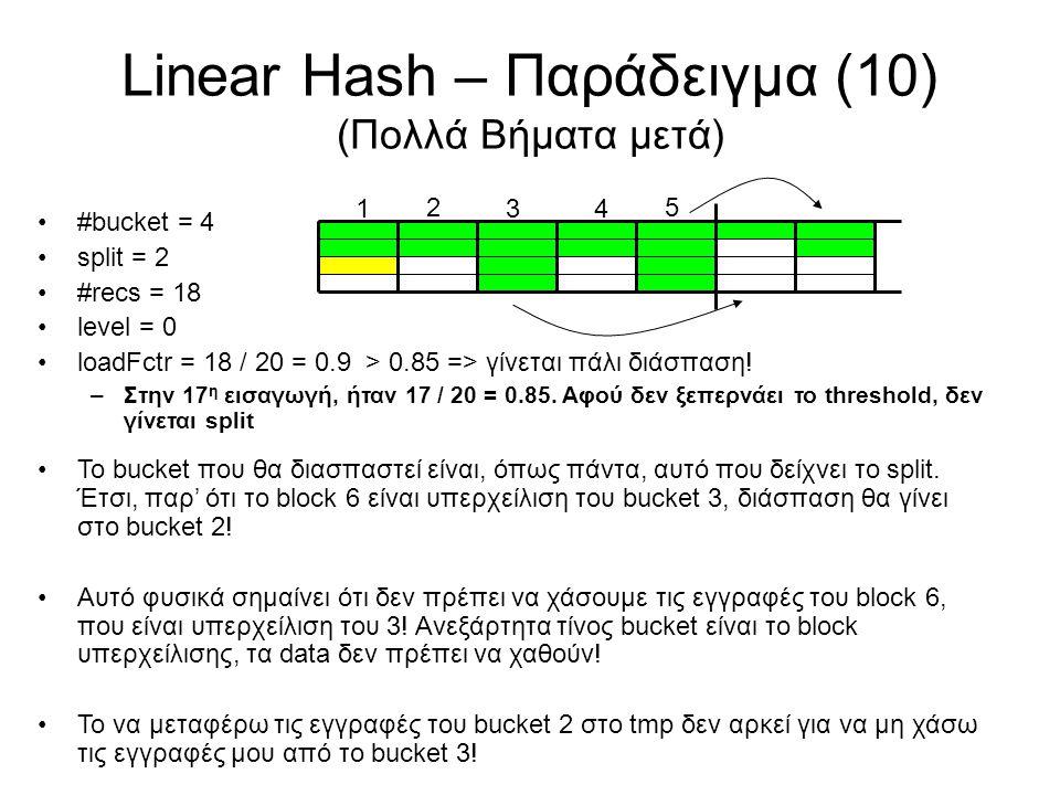 Linear Hash – Παράδειγμα (10) (Πολλά Βήματα μετά) 5 1 2 34 #bucket = 4 split = 2 #recs = 18 level = 0 loadFctr = 18 / 20 = 0.9 > 0.85 => γίνεται πάλι
