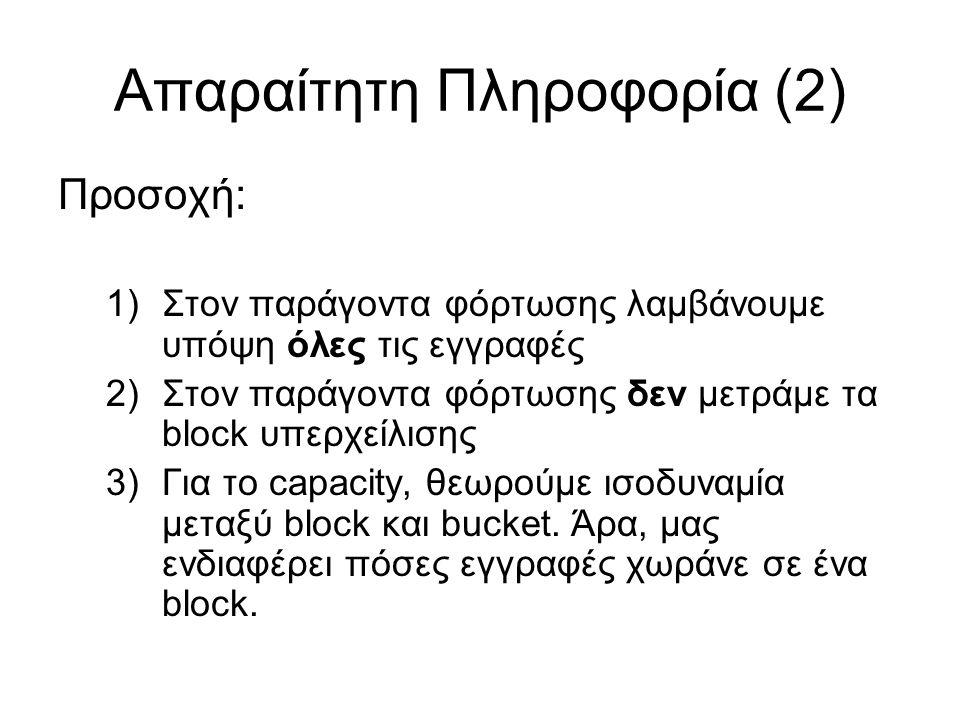 Απαραίτητη Πληροφορία (2) Προσοχή: 1)Στον παράγοντα φόρτωσης λαμβάνουμε υπόψη όλες τις εγγραφές 2)Στον παράγοντα φόρτωσης δεν μετράμε τα block υπερχεί
