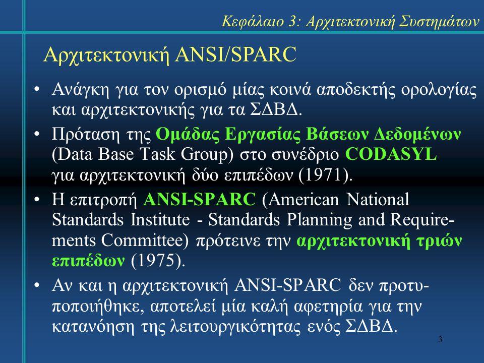 3 Κεφάλαιο 3: Αρχιτεκτονική Συστημάτων Ανάγκη για τον ορισμό μίας κοινά αποδεκτής ορολογίας και αρχιτεκτονικής για τα ΣΔΒΔ. Πρόταση της Ομάδας Εργασία