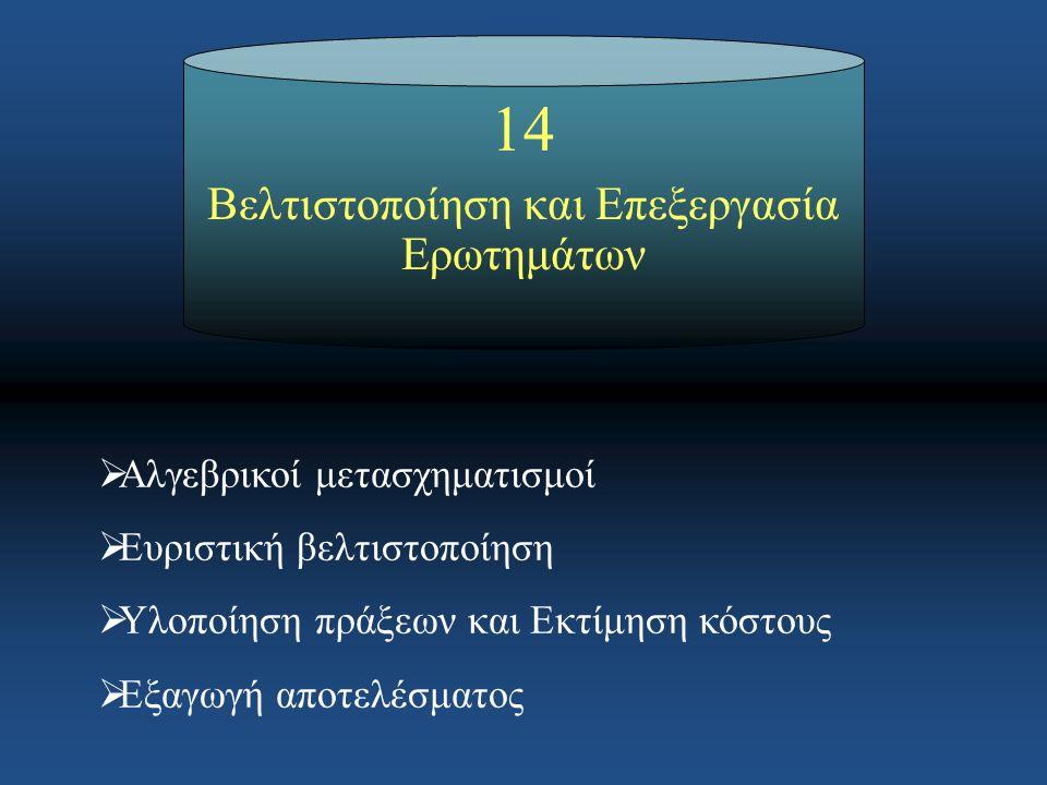 1414 Βελτιστοποίηση και Επεξεργασία Ερωτημάτων  Αλγεβρικοί μετασχηματισμοί  Ευριστική βελτιστοποίηση  Υλοποίηση πράξεων και Εκτίμηση κόστους  Εξαγ