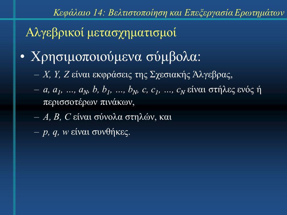 Κεφάλαιο 14: Βελτιστοποίηση και Επεξεργασία Ερωτημάτων Αλγεβρικοί μετασχηματισμοί Χρησιμοποιούμενα σύμβολα: –X, Y, Z είναι εκφράσεις της Σχεσιακής Άλγ