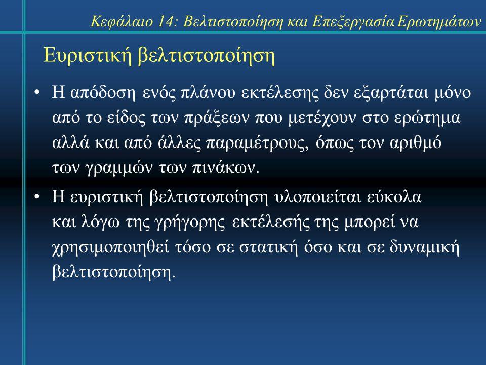 Κεφάλαιο 14: Βελτιστοποίηση και Επεξεργασία Ερωτημάτων Ευριστική βελτιστοποίηση Η απόδοση ενός πλάνου εκτέλεσης δεν εξαρτάται μόνο από το είδος των πρ