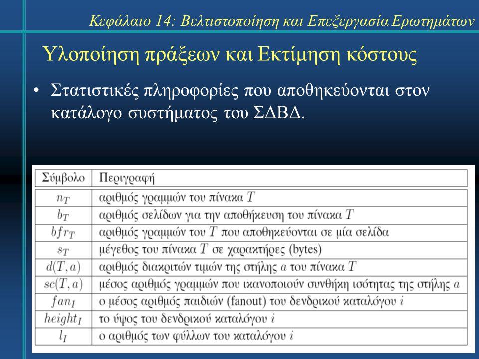 Κεφάλαιο 14: Βελτιστοποίηση και Επεξεργασία Ερωτημάτων Υλοποίηση πράξεων και Εκτίμηση κόστους Στατιστικές πληροφορίες που αποθηκεύονται στον κατάλογο