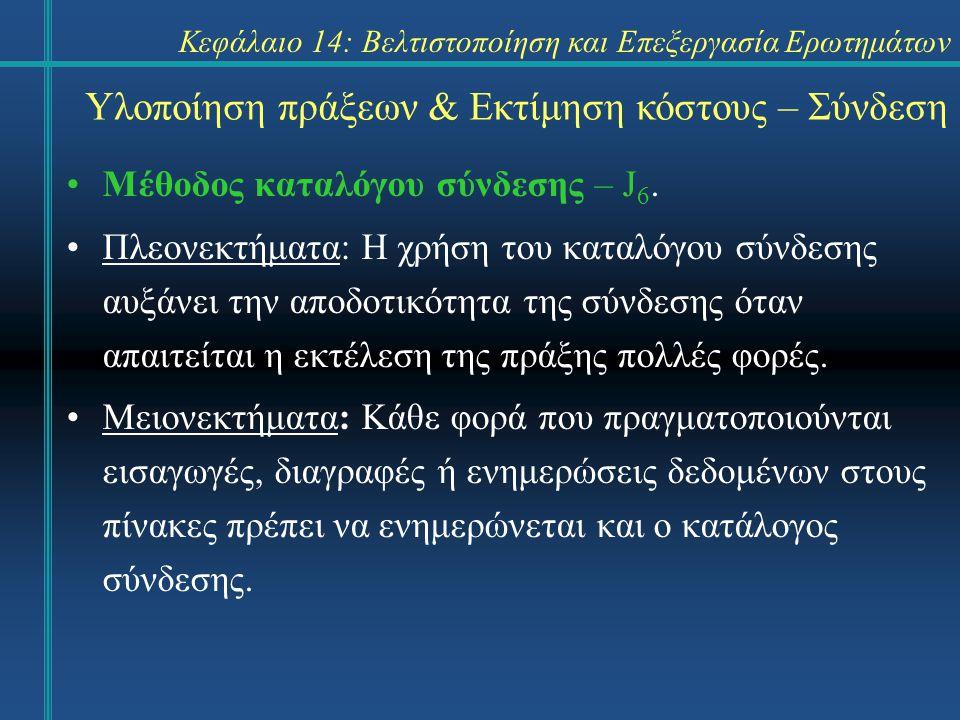 Κεφάλαιο 14: Βελτιστοποίηση και Επεξεργασία Ερωτημάτων Υλοποίηση πράξεων & Εκτίμηση κόστους – Σύνδεση Μέθοδος καταλόγου σύνδεσης – J 6. Πλεονεκτήματα: