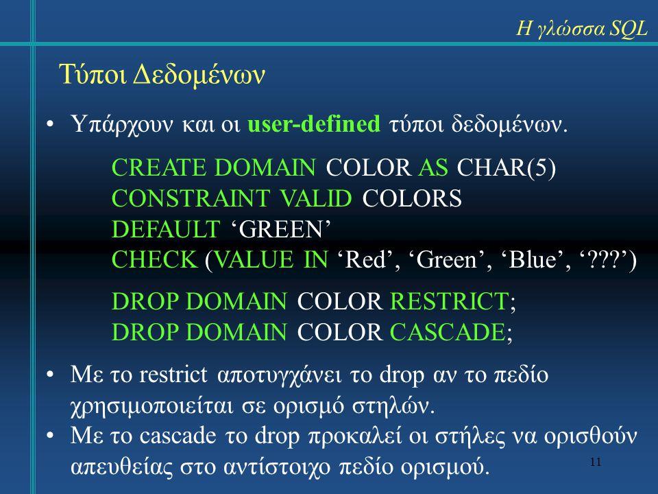 11 Η γλώσσα SQL Τύποι Δεδομένων Υπάρχουν και οι user-defined τύποι δεδομένων. CREATE DOMAIN COLOR AS CHAR(5) CONSTRAINT VALID COLORS DEFAULT 'GREEN' C