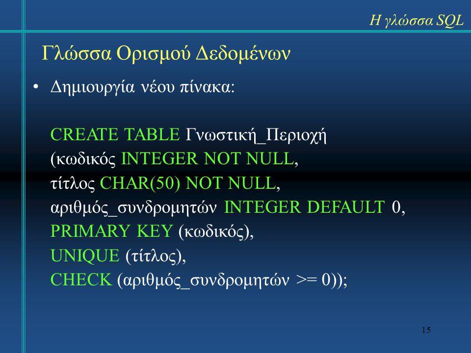 15 Γλώσσα Ορισμού Δεδομένων Δημιουργία νέου πίνακα: CREATE TABLE Γνωστική_Περιοχή (κωδικός INTEGER NOT NULL, τίτλος CHAR(50) NOT NULL, αριθμός_συνδρομ