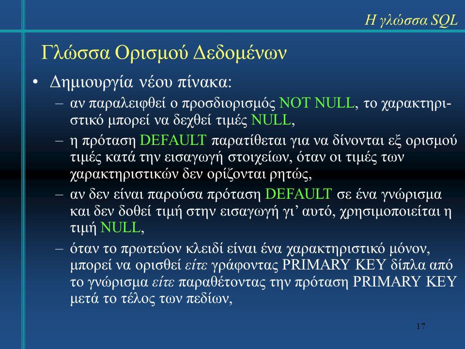 17 Γλώσσα Ορισμού Δεδομένων Η γλώσσα SQL Δημιουργία νέου πίνακα: –αν παραλειφθεί ο προσδιορισμός NOT NULL, το χαρακτηρι- στικό μπορεί να δεχθεί τιμές