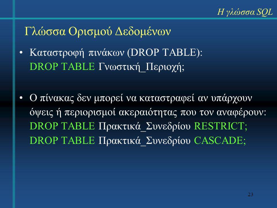 23 Καταστροφή πινάκων (DROP TABLE): DROP TABLE Γνωστική_Περιοχή; Ο πίνακας δεν μπορεί να καταστραφεί αν υπάρχουν όψεις ή περιορισμοί ακεραιότητας που