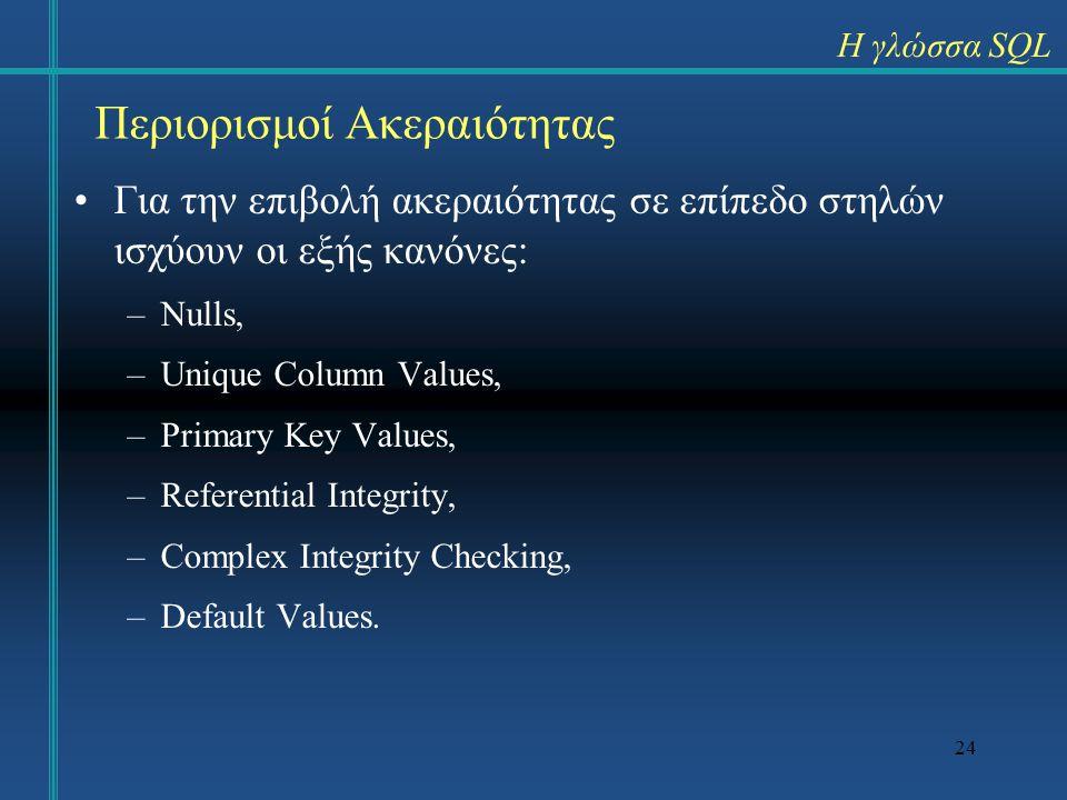 24 Περιορισμοί Ακεραιότητας Για την επιβολή ακεραιότητας σε επίπεδο στηλών ισχύουν οι εξής κανόνες: –Nulls, –Unique Column Values, –Primary Key Values